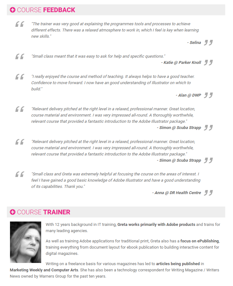 Freelance Adobe Trainer Greta Powell