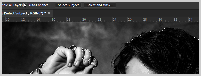 Select Subject on the Options bar in Photoshop