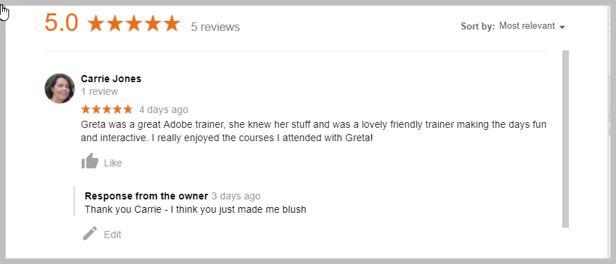 5 star Google Reviews InDesign Training